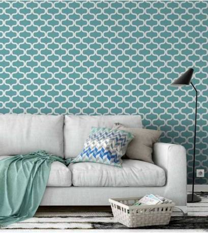 Papel de parede geom trico azul turquesa for Papel pared turquesa